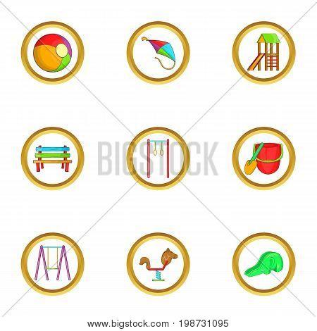 Kid playground icon set. Cartoon set of 9 kid playground vector icons for web isolated on white background