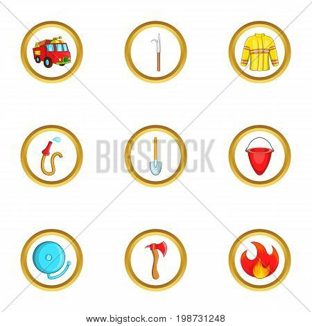 Fireman profession icon set. Cartoon set of 9 fireman profession vector icons for web isolated on white background