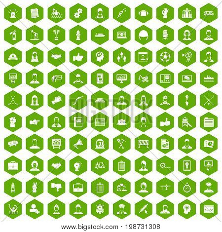 100 team work icons set in green hexagon isolated vector illustration