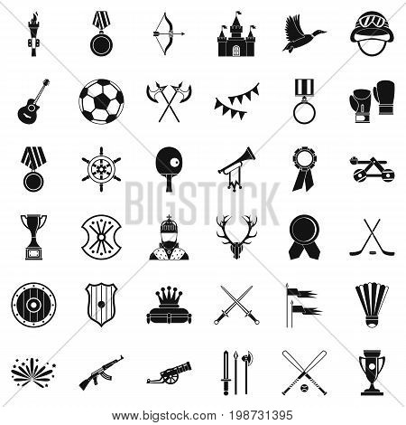 Winning icons set. Simple style of 36 winning vector icons for web isolated on white background