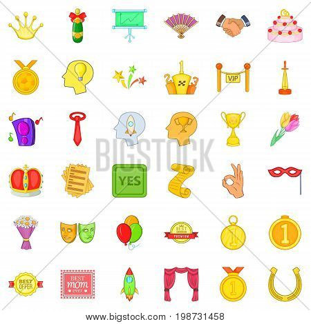 Winning icons set. Cartoon style of 36 winning vector icons for web isolated on white background