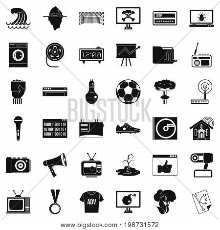 Multimedia icons set. Simple style of 36 multimedia vector icons for web isolated on white background