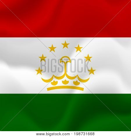 Tajikistan waving flag. Waving flag. Vector illustration.