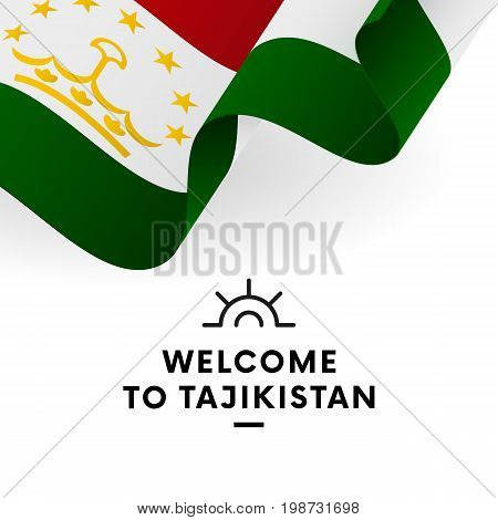 Welcome to Tajikistan. Tajikistan flag. Patriotic design. Vector illustration.