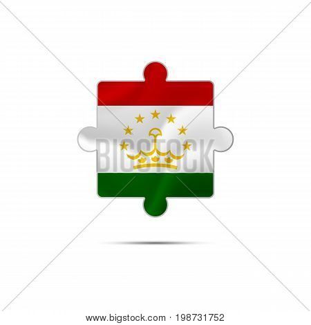 Isolated piece of puzzle with the Tajikistan flag. Vector illustration.