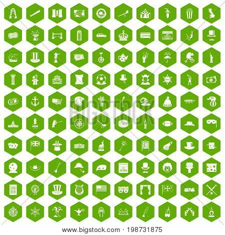 100 top hat icons set in green hexagon isolated vector illustration
