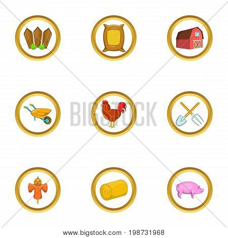 Agriculture icon set. Cartoon set of 9 agriculture vector icons for web isolated on white background