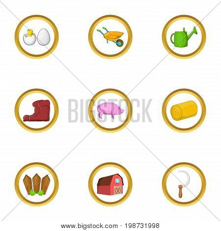 Agriculture equipment icon set. Cartoon set of 9 agriculture equipment vector icons for web isolated on white background