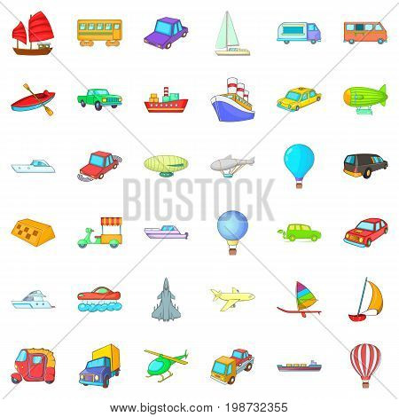 Vehicle icons set. Cartoon style of 36 vehicle vector icons for web isolated on white background