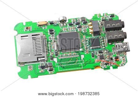 Media player circuit isolated on white background