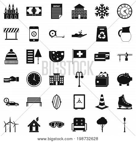 Rich villa icons set. Simple style of 36 rich villa vector icons for web isolated on white background