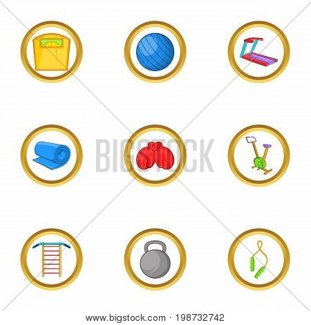 Sport equipment icon set. Cartoon set of 9 sport equipment vector icons for web isolated on white background