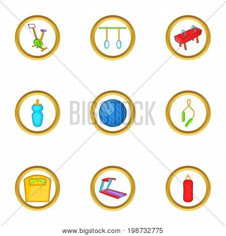 Gym equipment icon set. Cartoon set of 9 gym equipment vector icons for web isolated on white background