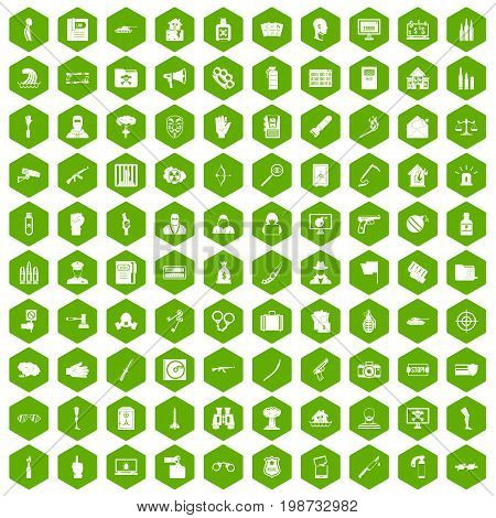 100 violation icons set in green hexagon isolated vector illustration