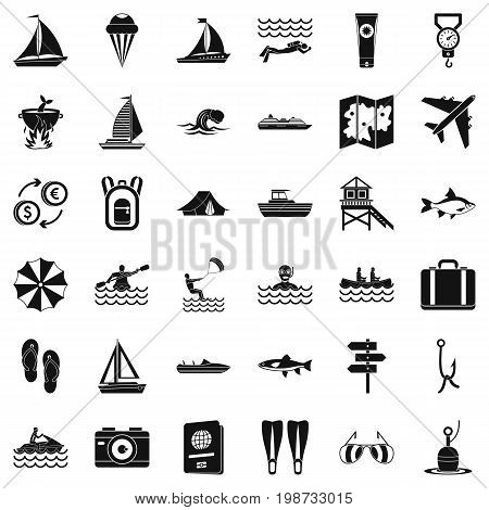 Water creation icons set. Simple style of 36 water creation vector icons for web isolated on white background