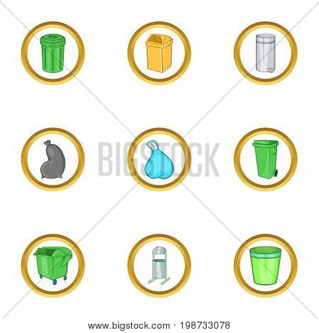 City urns icon set. Cartoon set of 9 city urns vector icons for web isolated on white background