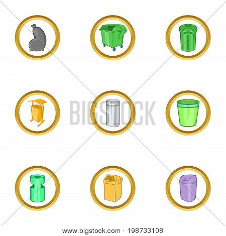Garbage business icon set. Cartoon set of 9 garbage business vector icons for web isolated on white background
