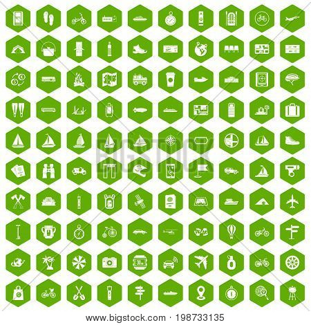 100 voyage icons set in green hexagon isolated vector illustration