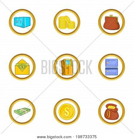 Dollar money icon set. Cartoon set of 9 dollar money vector icons for web isolated on white background