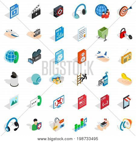Web design icons set. Isometric style of 36 web design vector icons for web isolated on white background