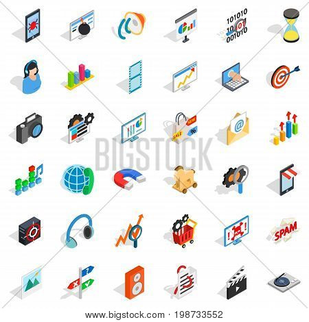 Web development icons set. Isometric style of 36 web development vector icons for web isolated on white background