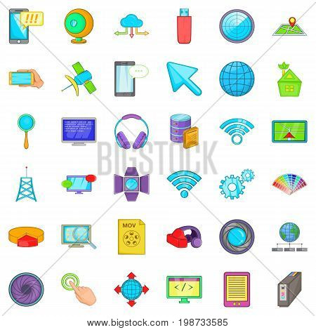 Web development icons set. Cartoon style of 36 web development vector icons for web isolated on white background