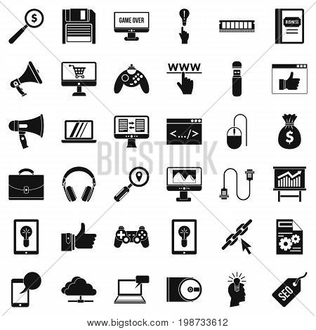 Web mobile icons set. Simple style of 36 web mobile vector icons for web isolated on white background