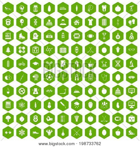 100 well person icons set in green hexagon isolated vector illustration