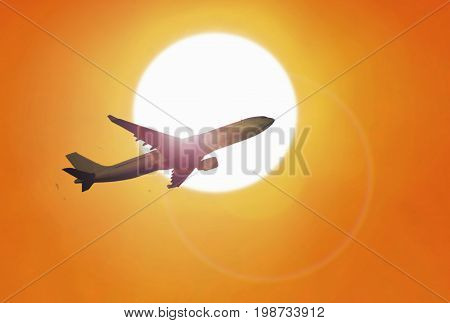 Airplane flying at sunset with yellow sky