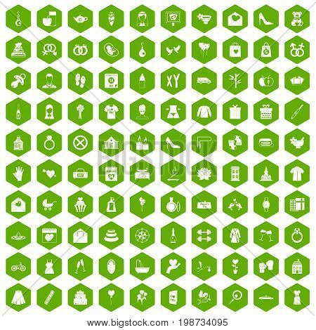 100 woman happy icons set in green hexagon isolated vector illustration