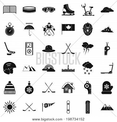 Winter sport icons set. Simple style of 36 winter sport vector icons for web isolated on white background