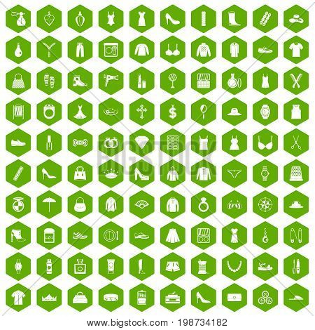 100 womens accessories icons set in green hexagon isolated vector illustration