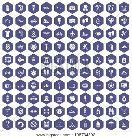 100 active life icons set in purple hexagon isolated vector illustration