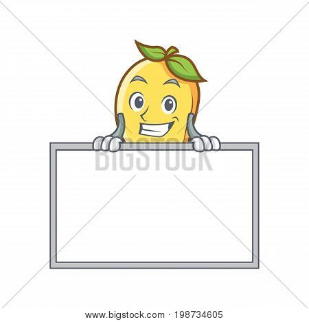 Grinning mango character cartoon mascot with board vector art
