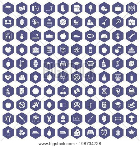 100 apple icons set in purple hexagon isolated vector illustration