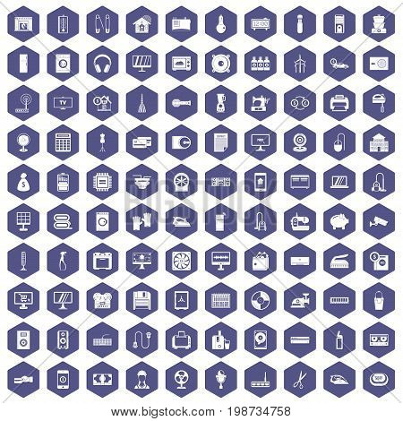 100 appliances icons set in purple hexagon isolated vector illustration