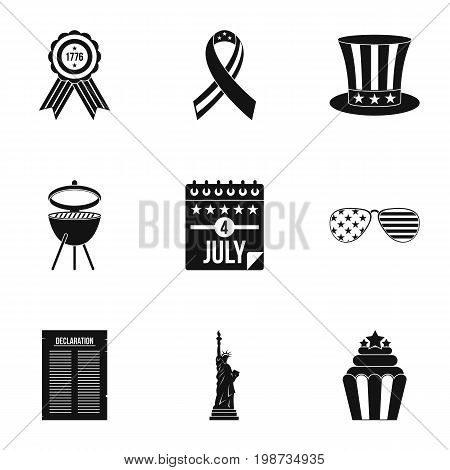 USA independence day icon set. Simple style set of 9 independence day vector icons for web isolated on white background