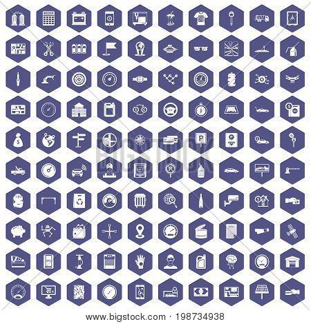 100 auto repair icons set in purple hexagon isolated vector illustration