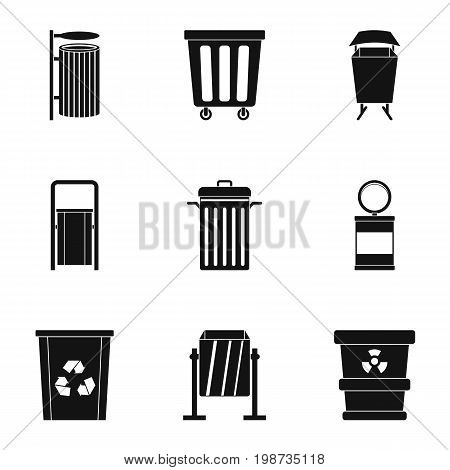 Trash can icon set. Simple style set of 9 garbage storage vector icons for web isolated on white background