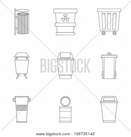 Garbage can icon set. Outline style set of 9 garbage storage vector icons for web isolated on white background