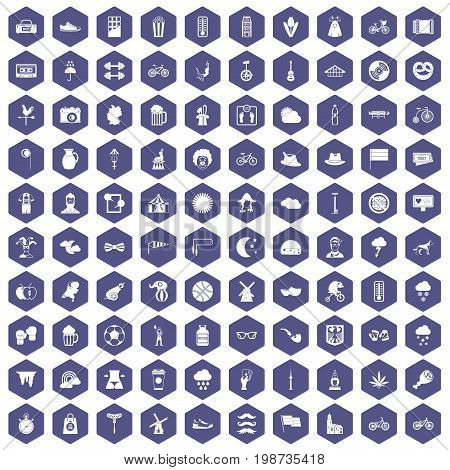 100 bicycle icons set in purple hexagon isolated vector illustration