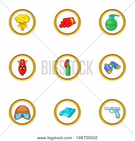 Weapons icons set. Cartoon set of 9 weapons vector icons for web isolated on white background