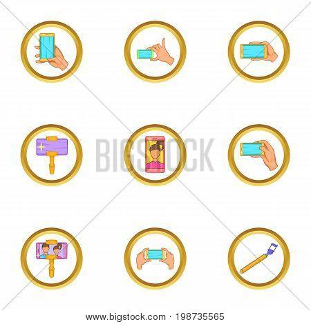 Phone photo icons set. Cartoon set of 9 phone photo vector icons for web isolated on white background
