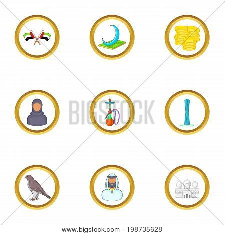 UAE icons set. Cartoon set of 9 UAE vector icons for web isolated on white background