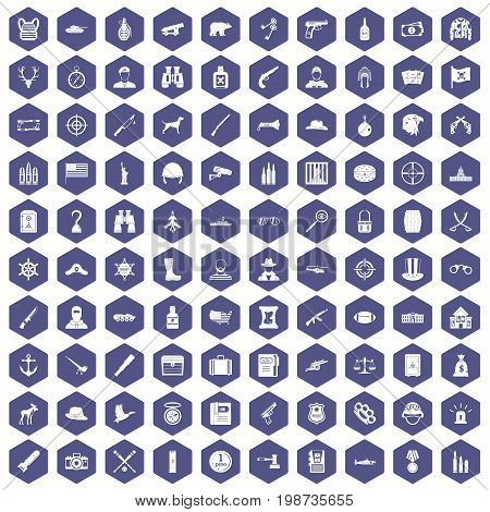 100 bullet icons set in purple hexagon isolated vector illustration