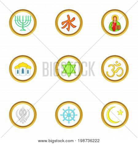 Religion icons set. Cartoon set of 9 religion vector icons for web isolated on white background