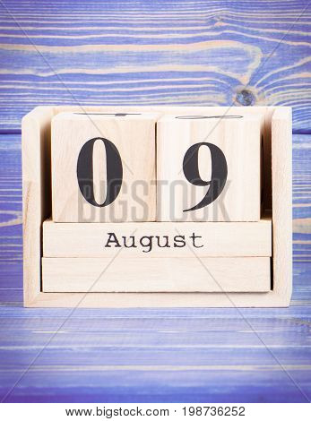 August 9Th. Date Of 9 August On Wooden Cube Calendar
