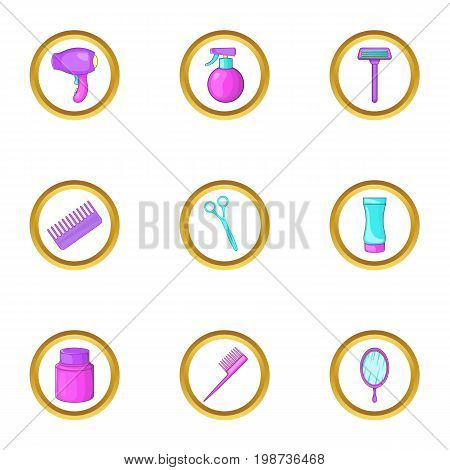 Barber shop icons set. Cartoon set of 9 barber shop vector icons for web isolated on white background
