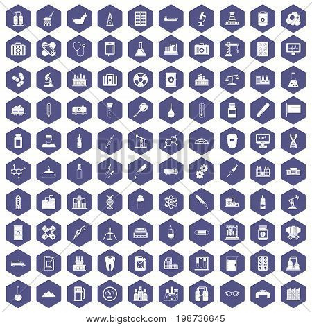 100 chemical industry icons set in purple hexagon isolated vector illustration