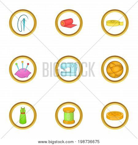 Tailor icons set. Cartoon set of 9 tailor vector icons for web isolated on white background